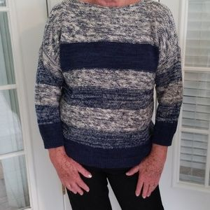 Navy knitted striped comfy sweater size L
